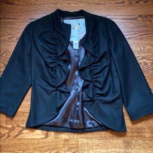 Anthropologie NWOT black ruffle blazer